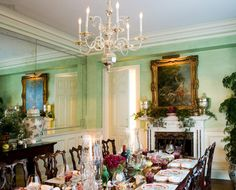 mint green in the dining room