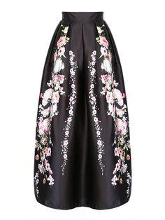 Black Sakura Print High Waist Maxi Skirt