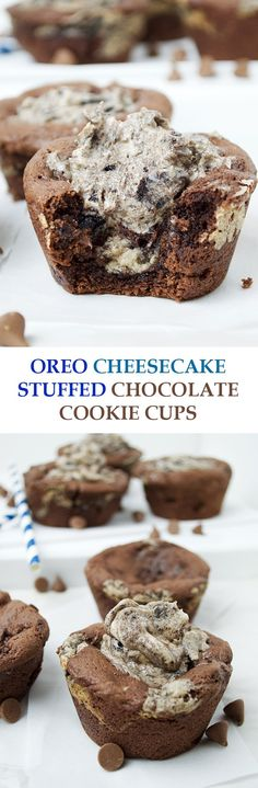 Oreo Cheesecake Stuffed Chocolate Cookie Cups- soft, fudgey chocolate cookie cups are stuffed with a no-bake Oreo Cheesecake mixture and topped with even more Oreo Cheesecake frosting!
