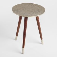 Embossed Azaria Round Accent Table Silver By World Market