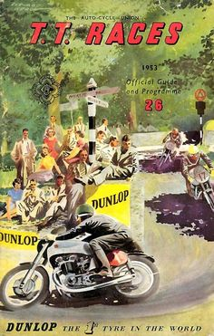 1956 TT Isle of Man Poster. Most likely produced by Dunlop as the Official tyre of the TT.