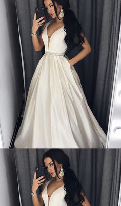 Fashion A-line Plunging Neck Long Prom Dress with Pockets,Party Dresses,New Evening Dress,PDY0300