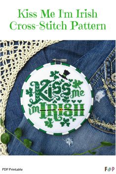 Adorable St. Patrick's Day Cross-Stitch pattern! So cute! #ad #stpatricksday #printable #crossstitch #crafty #diy #needlework