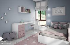 Una sencilla y bonita habitación para la pequeña de la casa. Con el mobiliario en blanco con detalles en rosa palo, las paredes en gris azulado y los textiles combinando ambos colores, hemos creado un espacio cómodo y acogedor donde Alma pueda estudiar cómodamente.