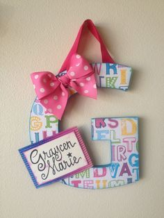 Great baby shower gift idea. Letter with name plate for baby's room