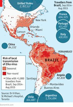 """""""A newly emerging disease is threatening the Americas.... Until October, [the mosquito-borne virus] Zika was not thought much of a threat: only a fifth of infected people fall ill, usually with just mild fever, rash, joint aches and red eyes. Since then, though, evidence has been piling up that it may cause birth defects in children and neurological problems in adults."""""""