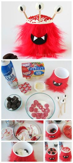 Grab the kids and have some fun turning NABISCO Go-Paks! into sweet Halloween Monster Party Snack Cups. Each brightly colored furry monster has it's. Halloween Party Treats, Party Snacks, Happy Halloween, Nabisco Cookies, Snack Pack Pudding, Best Party Food, Edible Crafts, Monster Party, Some Fun