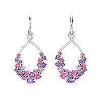 Multi-Gemstone & 1/7 ct. tw. Diamond Dangle Earrings in Sterling Silver