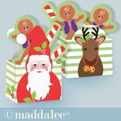 """Paper Arts, Party Printables, Invitations, Cards, Tutorials, Recipes: DIY Kids Santa & Rudolph Boxes & """"Treats"""""""