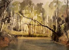 """Late Evening on the Sturgen""  11x14 transparent watercolor,  s l strohschein"