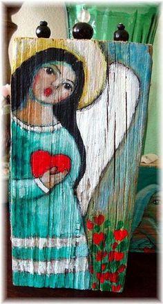 Art: FOLK ART ANGEL & HEART PAINTING