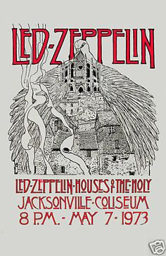 1970's Heavy Metal:  Led Zeppelin Houses Of Holy Florida Concert Poster 1973