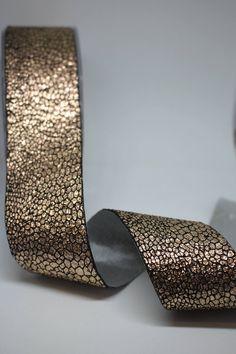 Ribbon Metallic Foil Reptile Print Faced Single Sided Ribbon | Etsy Natural Linen, Reptiles, Black Backgrounds, Ribbons, Iridescent, Metallic, Rose Gold, Brown, Face
