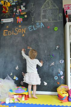 Playroom idea wall of chalkboard paint it's magnetic too-love!