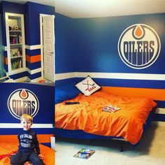 Edmonton Oilers kids room. Blood, sweat and tears plus a whole lot of painting tape. 11 hours later...he loves it!!!