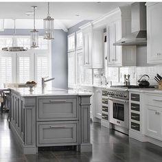 Light Gray and white Custom home - transitional - Kitchen - New York - Durso Construction Management Grey Kitchen Island, Aqua Kitchen, Gray And White Kitchen, Grey Kitchen Cabinets, Kitchen Cabinet Design, White Cabinets, Kitchen Interior, Gray Island, Maple Kitchen