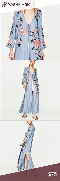 NWT ZARA BLUE EMBROIDERED OPEN CHAMBRAY KIMONO ZARA BLUE EMBROIDERED OPEN KIMONO WITH FLORAL EMBROIDERY AND SEQUIN DETAILS   BODY 100% lyocell EMBROIDERY 100% polyester  Comes with extra sequins Zara Jackets & Coats