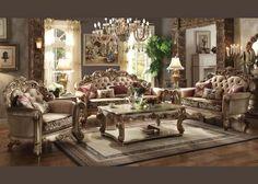 ACMEF53010-Gold Patina/bone Fabric Sofa