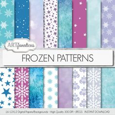 "Frozen digital papers ""Frozen Patterns"" palette inspired by Disney's Frozen…"