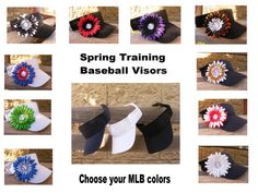 c5dac2f6f7b Be ready for spring training with a custom sun visor done in your favorite  MLB or College baseball team colors. Rhinestone baseballs in the center!