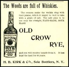 Old Crow Rye Whiskey 1900 Kirk & Co. Ad