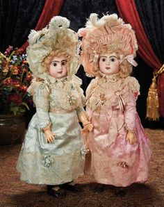 Fabulous Pair of French Bisque Bebes by Emile Jumeau with Superb Original Costumes 6500/9500 Auctions Online | Proxibid
