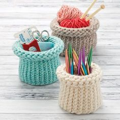 Make a set of nesting baskets to hold crafting tools, and so much more. Fun and easy with loom knitting!