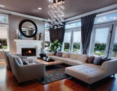 Gorgeous living room in grays