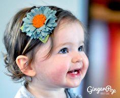 Handmade Wool Felt Chrysanthemum Flower Headband - Soft Green Felt Flower Headband for Babies, Toddlers, Adults - Baby Newborn Photo Prop