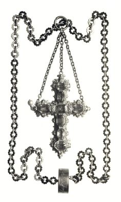 "Cross on a chain of Anna Jagiellon by Anonymous from Poland, second half of the century, Czartoryski Museum. From the so-called ""Royal Casket"", lost during World War II. Poland History, Royal Jewels, Casket, King Queen, 16th Century, Jewelry Necklaces, Jewellery, Rugs On Carpet, Anna"