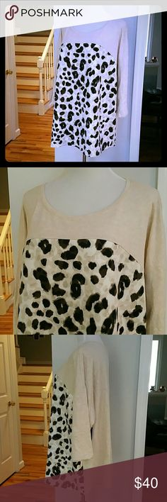 NWT STYLE&CO. TOP NWT Style&co. Plus Size Animal-Print Scuba-Front top Color : Leopard Fun Size : 3X  Materials :  Body : 73% COTTON  27% POLYESTER  Front Panel : 95% POLYESTER 5% SPANDEX Style & Co Tops
