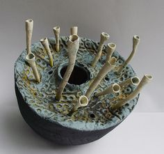 """""""Earth Pod 1"""" ceramic sculpture. Each piece is intuitively derived from a love of nature, the botanical and organic; textures in weathered stone and ..."""