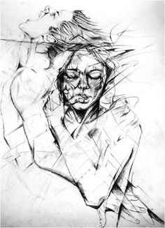 broken people by lucri on DeviantArt Sketches Of People, Drawing People, Art Sketches, Distortion Art, Broken People, Ap Studio Art, Metal Pen, Drawings Of Friends, People Illustration