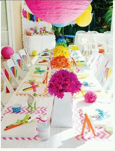 Rainbow daisies and lanterns
