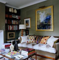 The comfortable sofa is covered in an array of William Yeoward's signature brightly coloured and patterned cushions Living Room Modern, Living Spaces, Living Rooms, Modern Interior Design, Interior Design Inspiration, English House, World Of Interiors, Comfortable Sofa, City Living