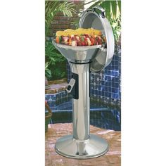 Stainless steel gas grills by Magma Del Mar is professional quality pedestal grill. Hidden propane gas tank in pedestal.