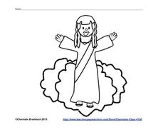 Free Ascension of our Lord Craft   FreeAscensionof our Lord  Craft - Coloring sheet                       Download Free at TPT  Sample Craft  Ascension Craft Bible color sheet Braddock Charlotte's Clips PK - 2