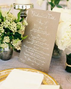 A calligraphed menu -- in French -- matched subtle Parisian touches flowered throughout this wedding. I like the idea of a Parisian touch, also like the idea of 1 think paper menu at certain areas of the table rather than per each guest. Wedding Menu Cards, Wedding Stationary, Wedding Paper, Wedding Table, Wedding Events, Rustic Wedding, Our Wedding, Wedding Invitations, Wedding Vintage
