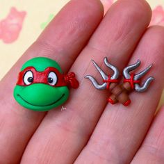 By Isa_handmade #ninjaturtles #handmade #earrings #polymerclay #90s #tartarugheninja #anni90 #isa_handmade #fimo #instagood #picoftheday #cute #kawaii