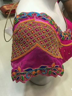 Pink Thread And Beads Work Embroidery Wedding Blouse Best Blouse Designs, Bridal Blouse Designs, Blouse Neck Designs, Sleeve Designs, Pattu Saree Blouse Designs, Hand Work Blouse, Designer Blouse Patterns, Net Blouses, Zardosi Embroidery