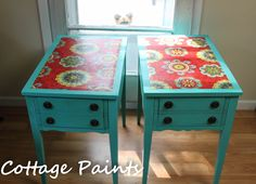 """""""Lucy"""" approves of these vintage 40's side tables~ by Cottage Paints"""