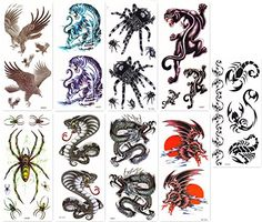"""DaLin Temporary Tattoos for Guys 9 Sheets Hawks, Dragon, Spide, Tiger, Snake. <b>SAFE</b>: DaLin Temporary Tattoos Meet Rigid Safety And NON-TOXIC Materials Standard, Passed FDA. <b>VALUE PACK</b>: 9 Sheets, Sheet size 4""""X 8"""". <b>WATERPROOF</b>: You can go with it to the beach / the pool. <b>LONG LASTING</b>: It will last for 2-7 days, depends on how many showers you take and how many times you scrub the tattoo with soap and water. <b>EASY TO APPLY & REMOVE</b>: Easy to apply in 10-20..."""