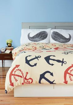 Snooze Anchor Duvet Cover in Twin/Twin XL, #ModCloth just the blankets, I dislike things with mustaches printed on them