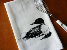 Flour Sack Dish Towel, Loon Tea Towel, Screen Printed Common Loon Bird on Etsy, $11.00