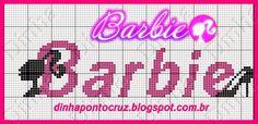 Dinha Ponto Cruz: Monograma e silhuetas Barbie ponto cruz