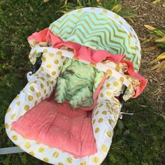 Mint Coral Gold Infant Car Seat Replacement by GraceMadisonDesigns