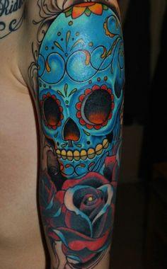 Blue sugar skull tattoo. #tattoo #tattoos #ink