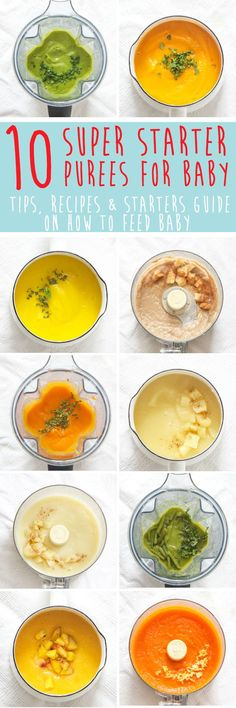 Baby is going to love these 10 Super Starter Purees for Baby from the very first bite. Easy to make, easy to eat! 10 of my baby's favorite starter puree recipes, plus tips and an entire starters guide to get you in the kitchen and off to a great start. All of these amazing purees once lived in an eb