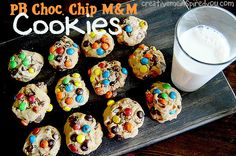 Peanut Butter Chocolate Chip M&M Cookies - CreativeMeInspiredYou.com peanut butter, peanut, butter, cookies, chocolate chips, chocolate, M&M's, kids, guys, protein, loaded cookies, snacks, treats, desserts, handmade, homemade, mom, moms, recipes, easy recipes, food, colorful, teens, tweens,