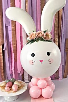 Bunny Birthday, Baby Girl Birthday, 1st Birthday Parties, Bunny Party, Easter Party, Christmas Card Crafts, Balloon Decorations Party, Churros, Baby Shower